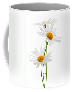 Daisies On White Background Coffee Mug