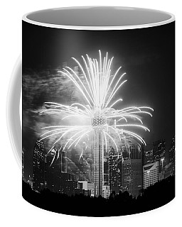 Dallas Reunion Tower Fireworks Bw 2014 Coffee Mug