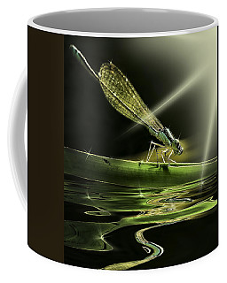 Damsel Dragon Fly  With Sparkling Reflection Coffee Mug by Peter v Quenter