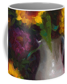 Coffee Mug featuring the painting Dance With Me - Sunflower Still Life by Talya Johnson