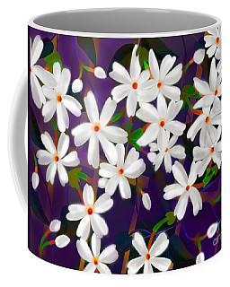 Coffee Mug featuring the digital art Dancing Coral Jasmines by Latha Gokuldas Panicker