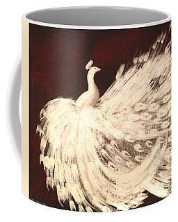 Coffee Mug featuring the painting Dancing Peacock Cream by Anita Lewis