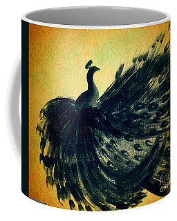 Coffee Mug featuring the painting Dancing Peacock Gold by Anita Lewis