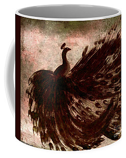 Coffee Mug featuring the painting Dancing Peacock Grey by Anita Lewis