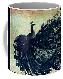 Coffee Mug featuring the painting Dancing Peacock Mint by Anita Lewis