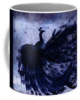 Coffee Mug featuring the painting Dancing Peacock Navy by Anita Lewis