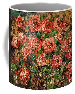 Coffee Mug featuring the painting Dancing Red Roses by Laurie Lundquist