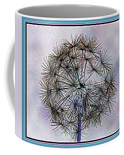 Coffee Mug featuring the photograph Dandelion Blue And Purple by Kathy Barney