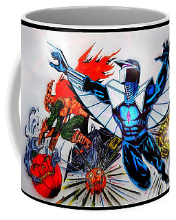 Coffee Mug featuring the drawing Darkhawk Vs Hobgoblin Focused by Justin Moore