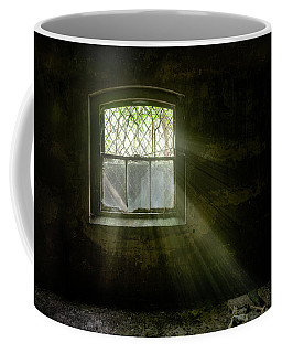 Coffee Mug featuring the photograph Darkness Revealed - Basement Room Of An Abandoned Asylum by Gary Heller