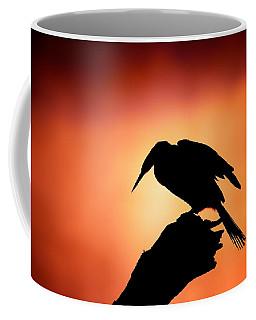 Darter Silhouette With Misty Sunrise Coffee Mug