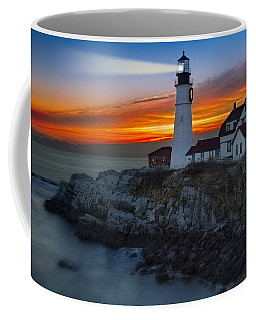 Dawn At Portalnd Head Light Coffee Mug by Susan Candelario