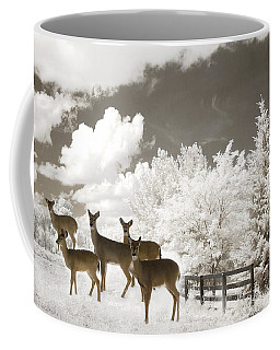 Deer Nature Winter - Surreal Nature Deer Winter Snow Landscape Coffee Mug