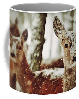 Coffee Mug featuring the photograph Deer In The Snow by Nick  Biemans