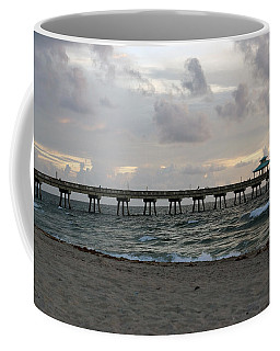 Coffee Mug featuring the photograph Deerfield Beach International Fishing Pier Sunrise by Rafael Salazar