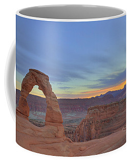 Coffee Mug featuring the photograph Delicate Arch At Sunset by Alan Vance Ley