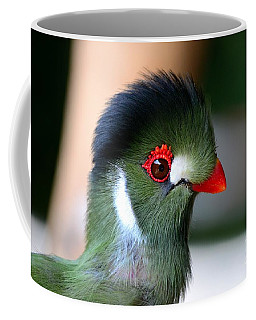 Delicate Green Turaco Bird With Red Beak White Patches And Black Crown Coffee Mug