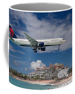 Delta Air Lines Landing At St. Maarten Coffee Mug by David Gleeson
