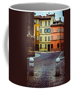 Deserted Street With Colored Houses In Parma Italy Coffee Mug