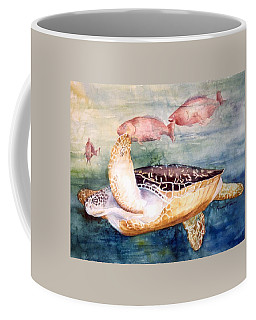 Coffee Mug featuring the painting Determined - Loggerhead Sea Turtle by Roxanne Tobaison
