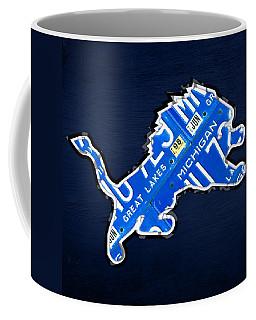 Detroit Lions Football Team Retro Logo License Plate Art Coffee Mug
