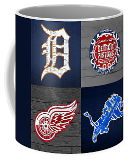 Detroit Sports Fan Recycled Vintage Michigan License Plate Art Tigers Pistons Red Wings Lions Coffee Mug