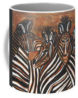 Coffee Mug featuring the painting Zebra Bar Crowd by Diane Pape