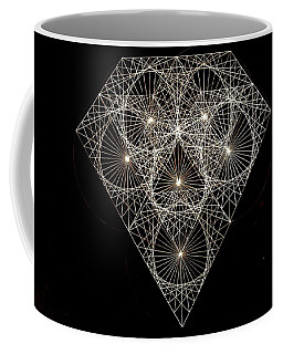 Coffee Mug featuring the drawing Diamond White And Black by Jason Padgett