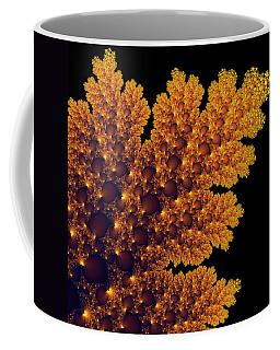 Digital Warm Golden Fractal Leaf Black Background Coffee Mug