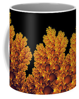 Digital Warm Golden Fractal Leaf Black Background Coffee Mug