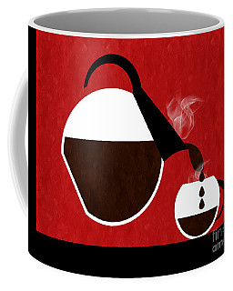 Diner Coffee Pot And Cup Red Pouring Coffee Mug