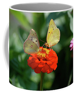 Coffee Mug featuring the photograph Dinner Table For Two Butterflies by Thomas Woolworth