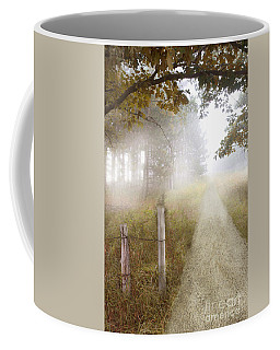 Dirt Road In Fog Coffee Mug by Jill Battaglia
