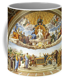 Coffee Mug featuring the painting Disputation Of Holy Sacrament. by Raphael