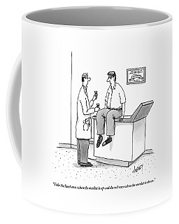 Doctor Speaks To Frazzled Patient In Doctor's Coffee Mug