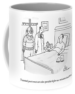 Doctor Speaks To Patient. A Scuba Diver Stands Coffee Mug