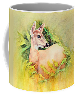 Coffee Mug featuring the painting Doe In Ferns by Bonnie Rinier