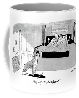 Dog Enters Room Where Poodle And Man Are In Bed Coffee Mug