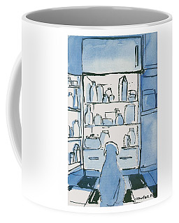 Dog In Front Of An Open Refrigerator Coffee Mug