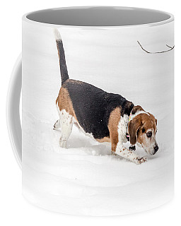 Dog In The Snow Coffee Mug