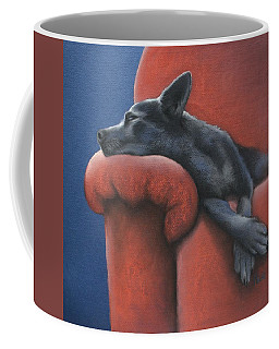 Coffee Mug featuring the drawing Dog Tired by Cynthia House