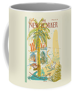 Dog Walking Under A Palm Tree Coffee Mug