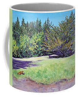 Dog With Bone In Spring Meadow Coffee Mug