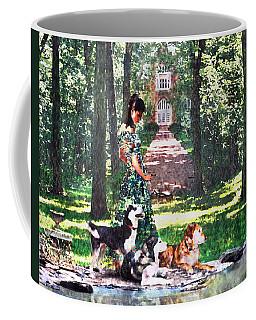 Dogs Lay At Her Feet Coffee Mug by Steve Karol