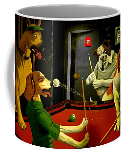 Dogs Playing Pool Wall Art Unknown Painter Coffee Mug by Kathy Barney