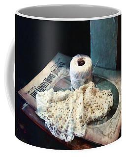 Doily And Crochet Thread Coffee Mug