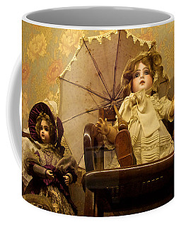 Antique Doll In Chair With Parasol Coffee Mug