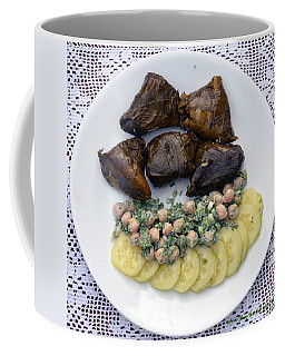 Dolmathes And Garbanzo Salad With Sliced Cucumbers Coffee Mug