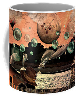 Coffee Mug featuring the mixed media Dolphin Dreams by Ally  White