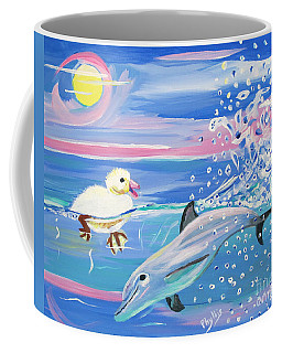 Dolphin Plays With Duckling Coffee Mug